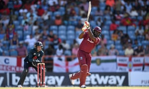 Chris Gayle strikes one of his 14 sixes in his 162, but it was not enough for West Indies.