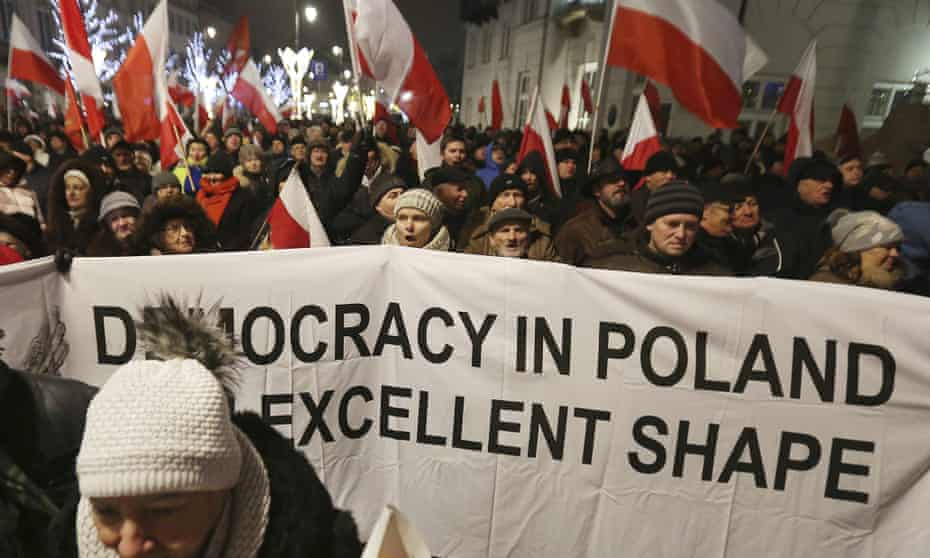 A rally by supporters of the Law and Justice party in Warsaw, Poland in 2016.