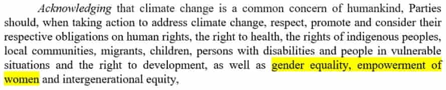 Gender features in the preamble to the Paris Agreement