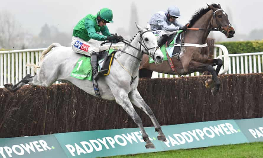 Bristol De Mai, nearest, was beaten by Santini in last year's Cotswold Chase but could get his revenge this time.