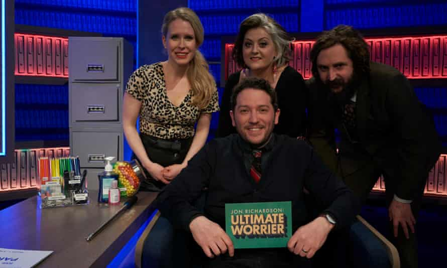 Jon Richardson with his guests (l-r) Lucy Beaumont, Kiri Pritchard-McClean and Joe Wilkinson in Jon Richardson: Ultimate Worrier.