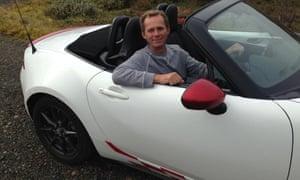 Martin Love in a white Mazda MX5