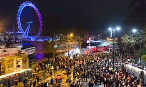 New Year's Eve crowds on the banks of the river Thames