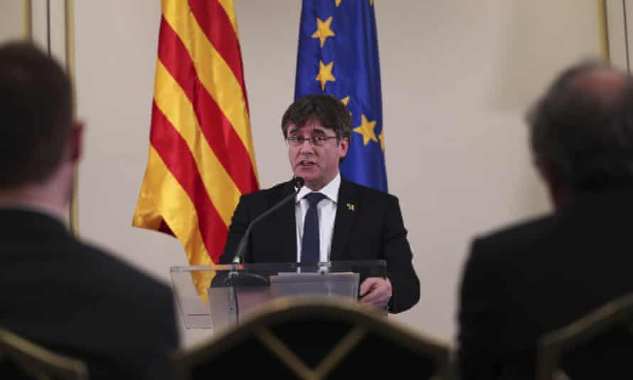 Carles Puigdemont addresses a conference in Brussels