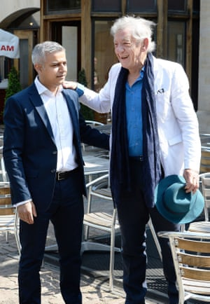 Sir Ian McKellen greets the newly elected Mayor of London Sadiq Khan ahead of his signing ceremony at Southwark Cathedral