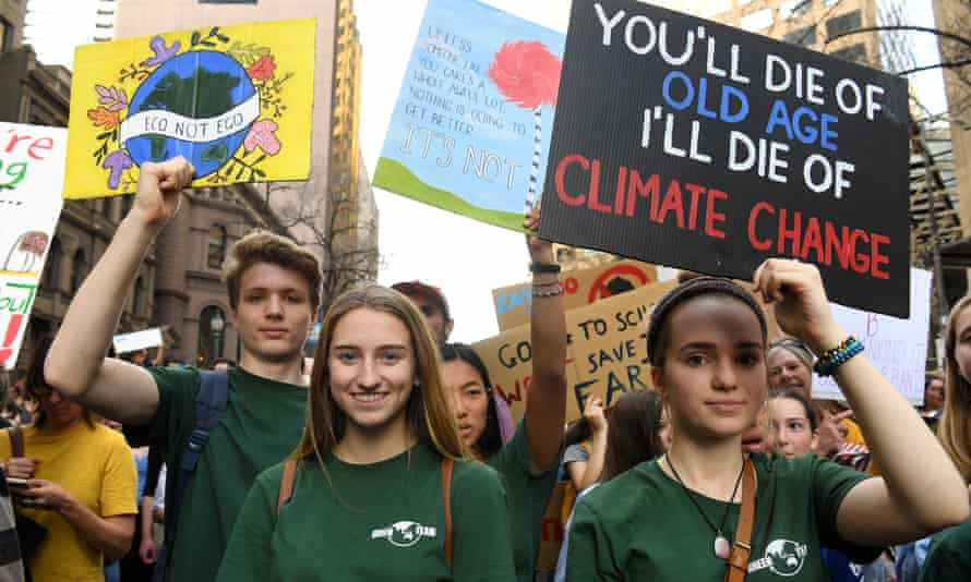 Young protesters march at a  climate rally in Melbourne. Australia