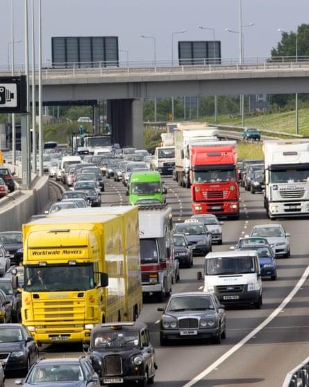 Traffic in a motorway jam