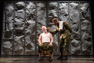 John Boyega with Steffan Rhodri on stage in Woyzeck at the Old Vic in 2017