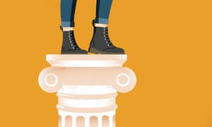 illustration showing the doc marten style boots and jeans of a woman standing on a classical ionian column
