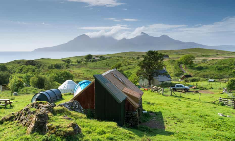 Cleadale campsite on the Isle of Eigg, with a view of the Isle of Rum.