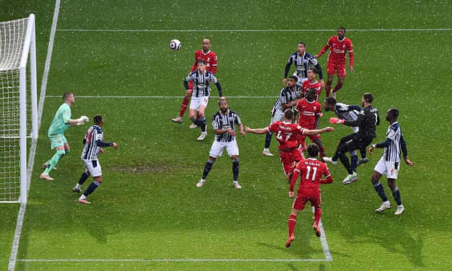 Alisson rises to head in Liverpool's sensational 95th-minute winner against West Brom at the Hawthorns