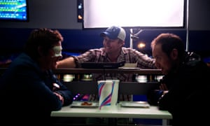 Leon Cain and Steven Mouzakis with director Dru Brown behind the scenes on The Suicide Theory