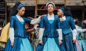 Vinette Robinson, Leah Harvey and Clare Perkins as the eponymous heroine in Morgan Lloyd Malcolm's Emilia at Shakespeare's Globe