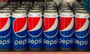 Pepsi cans on shelf