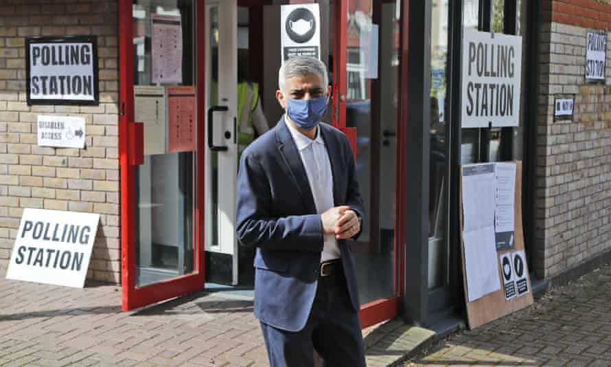 Sadiq Khan leaves a polling station in London after voting