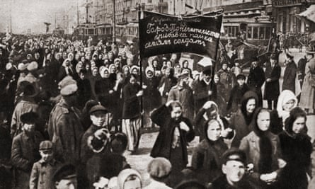 Female protesters in Petrograd (now St Petersburg) on 8 March 1917.