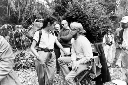 Producer Jonathan Taplin with Sean Young during the filming of Baby: Secret of the Lost Legend, Ivory Coast, 1985.