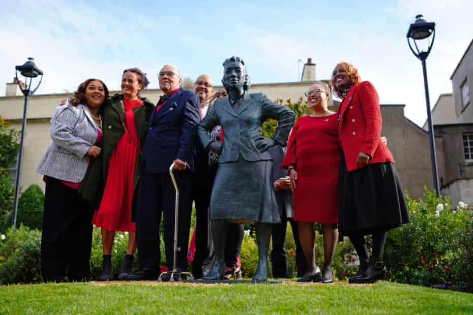 The family of Henrietta Lacks and artist Helen Wilson-Roe (second left) at the unveiling in Bristol of a statue on the 70th anniversary of Lacks's death.