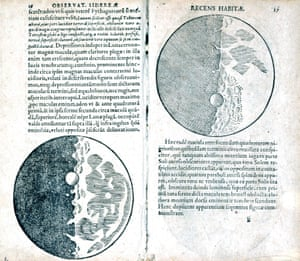 The moon revealed by Galileo's telescope from Sidereus nuncius magna, a book of astronomical theory and observations written by Italian astronomer and physicist Galileo Galilei (1564-1642) and published in Venice in 1610