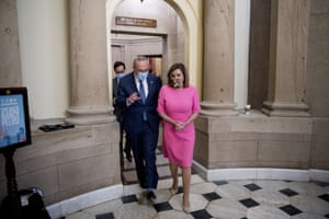 Chuck Schumer and Nancy Pelosi depart a meeting on coronavirus relief on Friday.