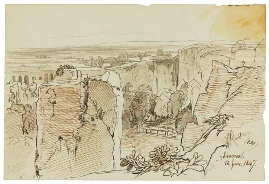 edward lear pen and ink drawing of syracuse quarries in 1847