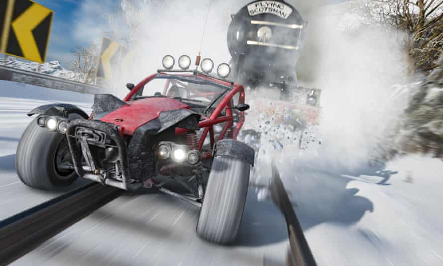 An all terrain vehicle takes on the Flying Scotsman in Forza Horizon 4