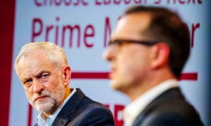 Jeremy Corbyn and Owen Smith (right) at the Labour leadership hustings in Gateshead.