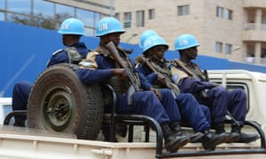 UN Minusca peacekeepers patrol the Central African town of Bambari in October 2014