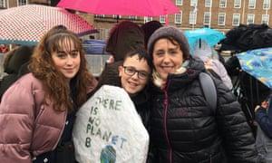 Karen Davies with her children Isaac and Maya Swann.