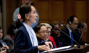 Aung San Suu Kyi at the UN's international court of justice in The Hague.