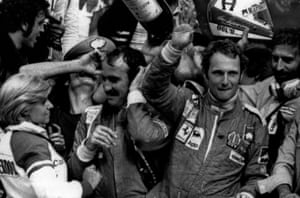 Lauda clinched his maiden world championship in 1975 when driving for Ferrari. He finished third at Monza behind Clay Regazzoni (Ferrari) and Emerson Fittipaldi (McLaren Ford) to seal the title.