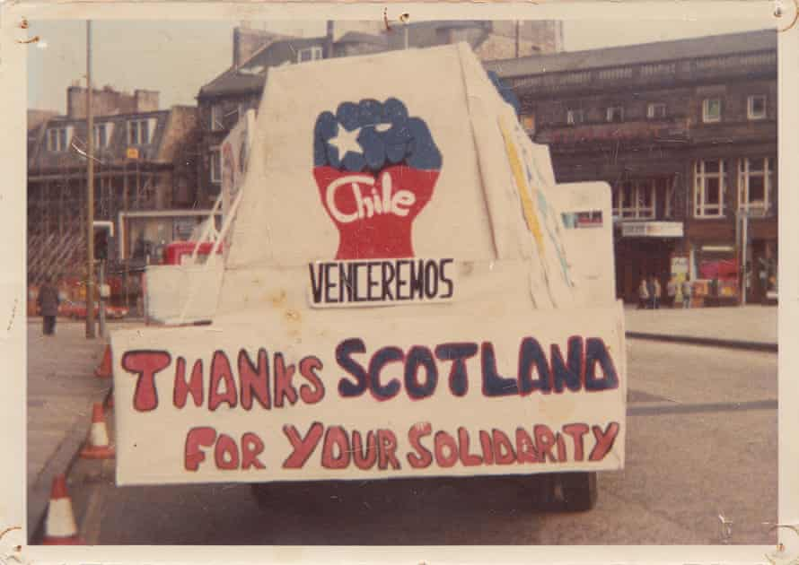 Thanks … a banner at a Scottish parade in 1982.