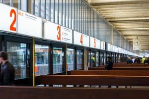Preston bus station bus stands.