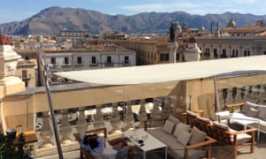 Cocktails in central Palermo with mountain views