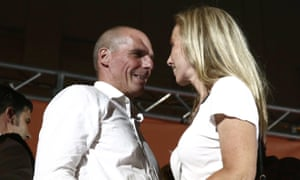 Yanis Varoufakis at a rally with his wife, Danae Stratou.