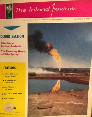 Cover of The Inland Review showing a napalm explosion used on a well in Mereenie.
