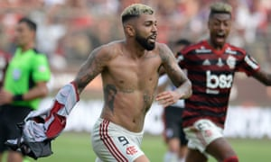 Flamengo's Gabriel Barbosa celebrates after scoring the winning goal against Argentina's River Plate.