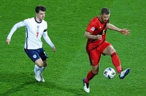 England in action last November against Belgium