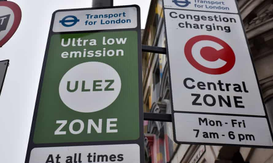 Signs for an ultra-low emission zone in central London.