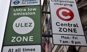 Ultra-low emission zone signs in central London