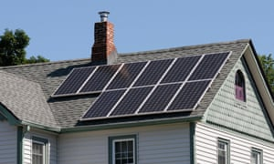 Photovoltaic solar panels on the roof of a house