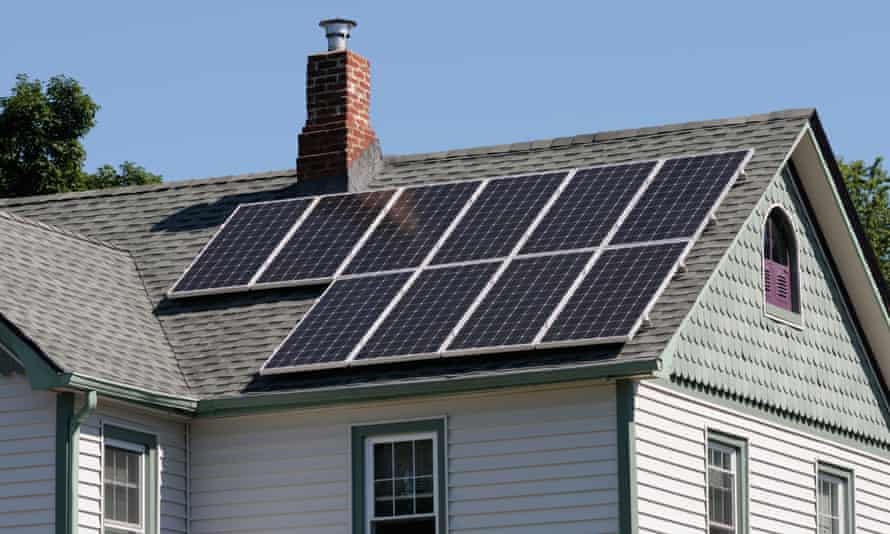 Solar panels on roof of house in the US