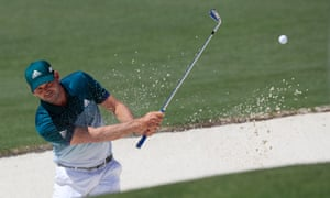 Sergio García of Spain hits from a bunker on the second hole during the final round of the 2017 Masters.