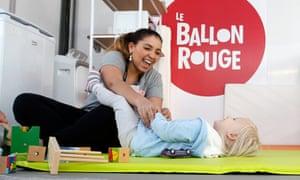 72nd Cannes Film Festival - Le Ballon Rouge initiative - Cannes, France, May 15, 2019. Children and nanny are seen at Le Ballon Rouge Kids Pavilion located at the Village International Pantiero. REUTERS/Regis Duvignau
