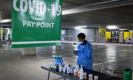 A Covid-19 testing point in Johannesburg, South Africa.
