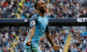 Raheem Sterling celebrates scoring his second, and City's third.