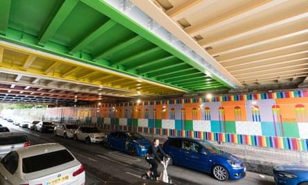 Happy Street, an enamelled panel work in a south London underpass, by Yinka Ilori.