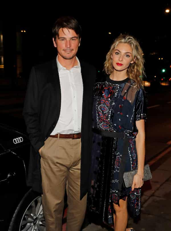 With his wife, Tamsin Egerton, in 2018.