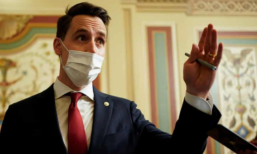Senator Josh Hawley takes questions during a break in opening arguments in the impeachment trial of Donald Trump, 10 February 2021.