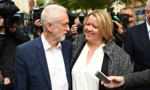 Jeremy Corbyn celebrates with newly elected labour MP Lisa Forbes at Cathedral Square, Peterborough.